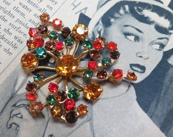Vintage Made in Austria Rhinestone Brooch / Multi Color Crystal Floral Spray / Gold Tone / Topaz Brown Green Red / Sparkly / Signed (D728)