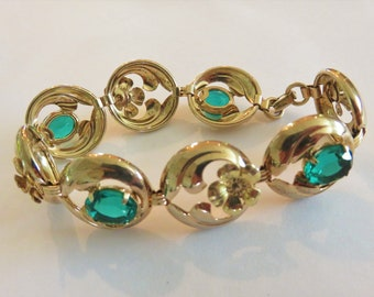 Vintage-Necklace-Bracelet-Providence Stock Company-12KT Gold-Green-Flowers-Sterling-Accessories-Jewelry