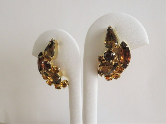 Vintage Gold Tone Metal With Root-beer Rhinestone and AB Crystal Clip-on Earrings