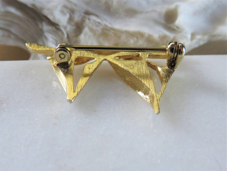 Vintage Small Twin Sailboat Brooch  Shiny Smooth Gold Tone Open Work Sail Boat  Two Mast Wave Ocean Nautical Race  Sailing Gift H550