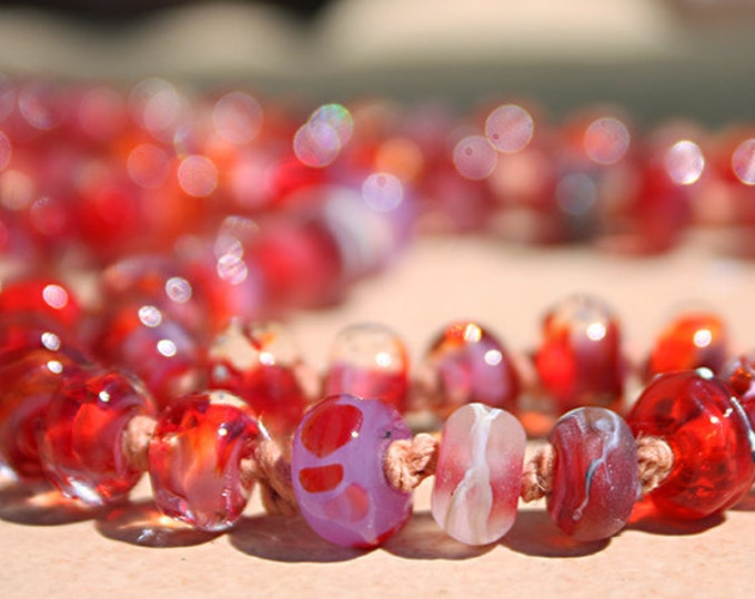 Featured listing image: Vista Rose  Lampwork Bead Necklace by Glass Artist Jenelle Aubade