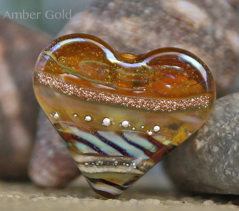 Amber Gold Heart Focal  glass lampwork bead for Jewelry Design by Jenelle Aubade