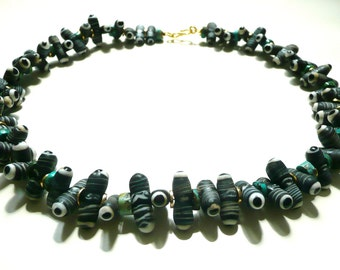 """Chain """"centipede"""" necklace/bars/replicas glass beads/turquoise beads/Gold/Black/white/Weinachtsgeschenk jewelry/For women/gemstone"""