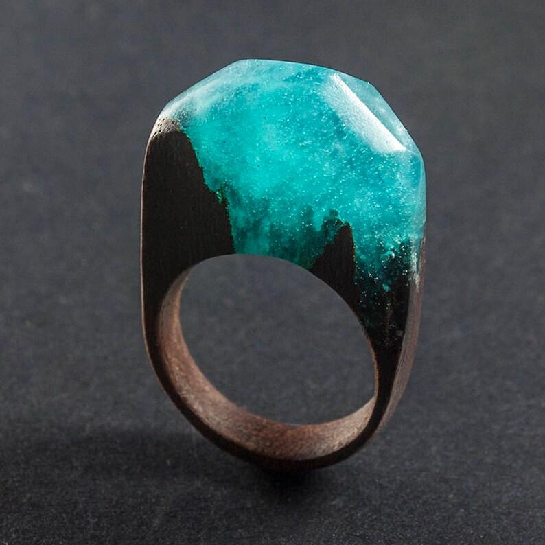 resin and mahogany ring Teal fog