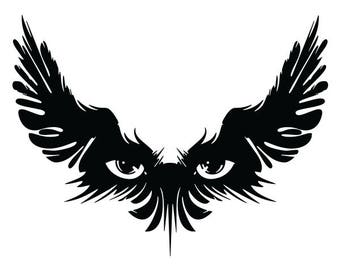 cdbb2601d Watcher vinyl decal sticker for Car/Truck Window tablet tribal Eyes Wing  Raven