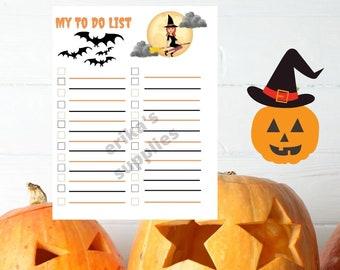 Halloween To do List/Minimalist to do list/Daily Schedule/Daily Planner PDF, JPG