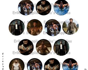 Hugh Jackman's Wolverine Logan James Howlett 1 inch Bottle Caps Digital Image Digital Template For Stickers, Magnets Download  5 x 7