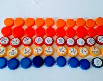 50  Plastic Bottle Lids Soda Bottle Caps Use 4 Jewelry Magnets Pendants School Crafts Girl Scout  Reuse Recycle Bottle Cap Jewelry #24