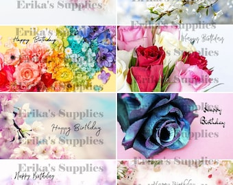 Birthday Printable Flower Tag/ 8 Different Designs Gift Instant Download PDF & JPG