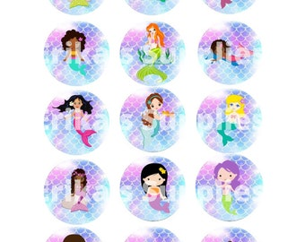 Mermaid Bottle Cap Images / 1 inch Digital Images for Jewelry, Hair Bows, Stickers Digital Download  5X7