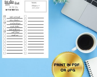To do List/Minimalist to do list/Daily Schedule/Daily Planner PDF, JPG