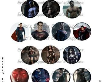 Justice League Batman V Superman Wonder Woman  1 inch Bottle Caps Digital Image Pendants Stickers Download  5 x 7