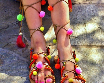 be9ced880985a3 FREE SHIPPING Boho Colorful Sandals   Pom Pom Sandals   Bohemian Strappy  Sandals   Greek Leather