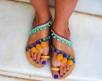 480e3fa6e734c FREE SHIPPING Colorful Sandals   Pom Pom Sandals   Bohemian Strappy Sandals    Greek Leather Sandals   Womens Sandals   Ethnic Boho Sandals