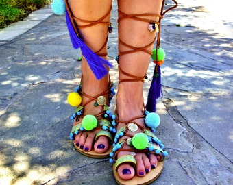 a52c4b838e6e3f FREE SHIPPING Gladiator Pompom Sandals   Lace up Neon Sandals   Colorful  Tassel Sandals   Pom Poms   Boho Leather Sandals   Greek Sandals