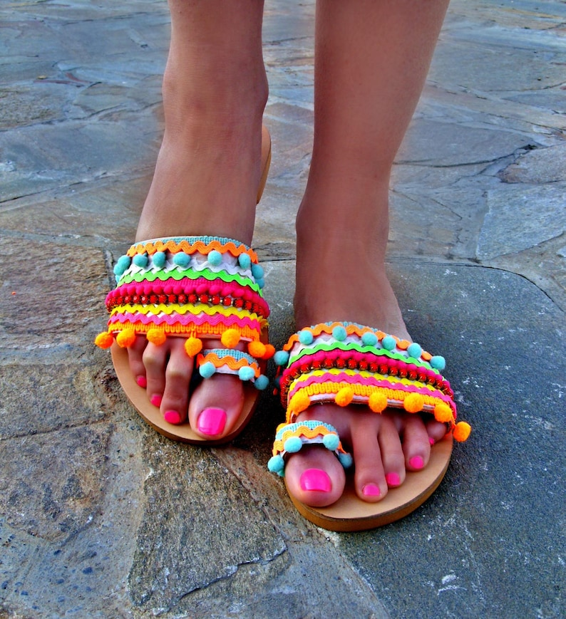 72a53092944f4 FREE SHIPPING Colorful Sandals Candy Shop   Pom