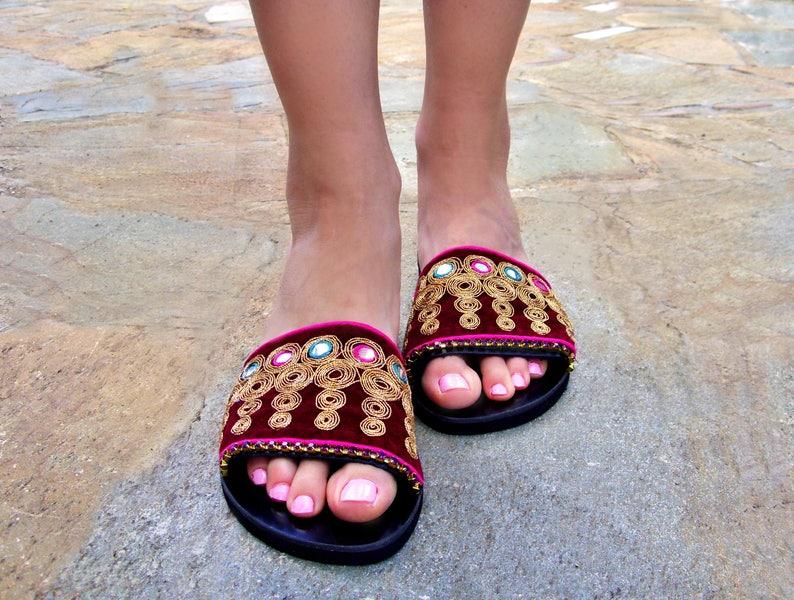 882b10753d5ee FREE SHIPPING Ethnic Velvet Sandals / Greek Leather Sandals / Bohemian Flat  Sandals / Black Boho Sandals / Womens Shoes