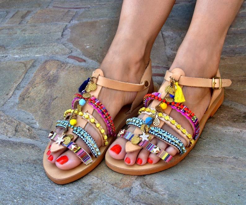 e6c96b035ef604 FREE SHIPPING Boho Greek Sandals