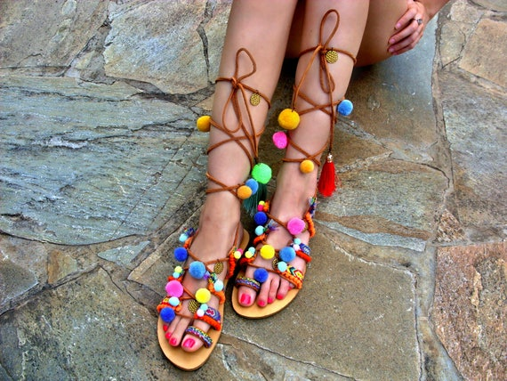 f0b81a380672e8 FREE SHIPPING Pom Pom Sandals   Gladiator Sandals   Woman Bohemian Sandals    Greek Leather Sandals   Lace up Sandals   Colorful flat Sandals