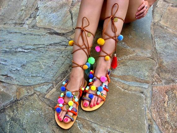 ec31b05c746c3 FREE SHIPPING Pom Pom Sandals   Gladiator Sandals   Woman