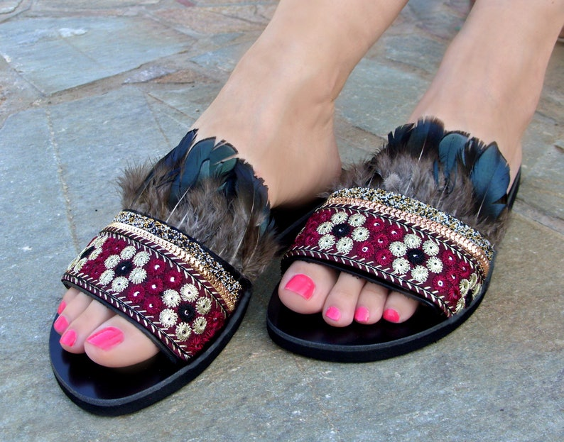 b52a4c9b28a89 FREE SHIPPING Boho Feather Sandals / Greek Leather Sandals / Bohemian Flat  Sandals / Black Ethnic Sandals / Womens Shoes / Natural Feathers