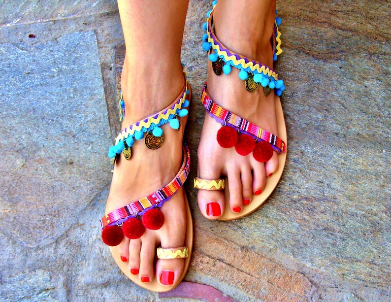 aa53ce551175e 40% OFF Colorful Sandals   Pom Pom Sandals   Bohemian Strappy