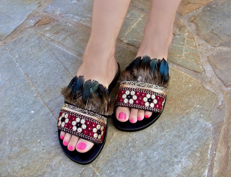 a420efa89a22 FREE SHIPPING Boho Feather Sandals   Greek Leather Sandals