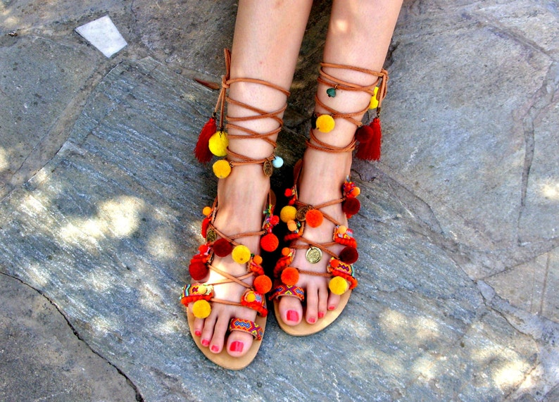 63da7299622366 FREE SHIPPING Gladiator Sandals   Greek leather sandals   Colorful Pom Pom  Sandals   Boho Flat Sandals   Ethnic Sandals   womens shoes