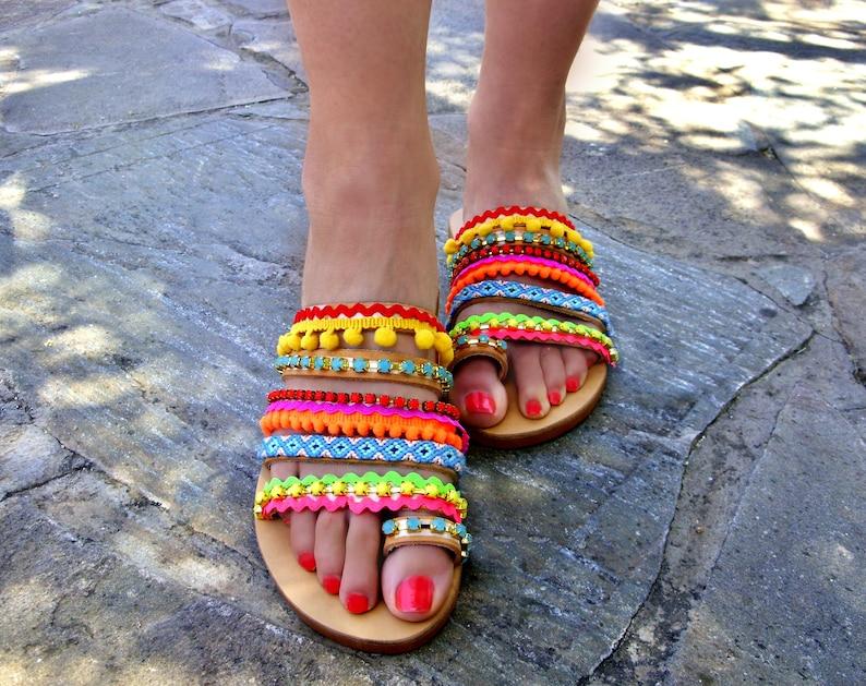 Island Strappy Womens Greek Sandals Shipping Boho Shoes Pom Summer Colorful Leather Free Flat Maui 76ybgYf