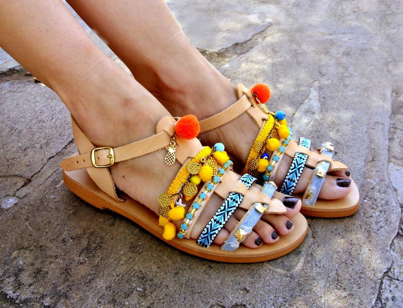 77d2db658137eb FREE SHIPPING Leather Pom Pom Sandals   Greek Flat Sandals   Boho Hippie  Sandals   Womens Sandals   Handmade Sandals