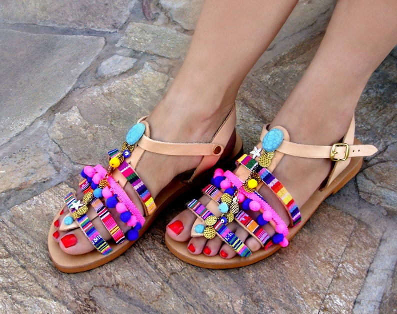5e89a8378ac3c FREE SHIPPING Greek Leather Sandals / Colorful Boho Sandals / Pom Pom  Strappy Sandals / Bohemian Flat Sandals / Women's Shoes