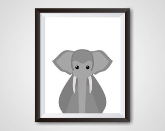 Elephant Safari Animal, 8x10 and 5x7 PDF and JPG
