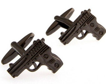 Handgun Black Tone CuffLinks - Best Gift For Dad - Groomsmen Cufflinks - Groomsmen Gifts - Gifts for Him -  Jewelry For Men