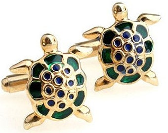 Turtle Gold Tone CuffLinks - Best Gift For Dad - Groomsmen Cufflinks - Groomsmen Gifts - Gifts for Him -  Jewelry For Men