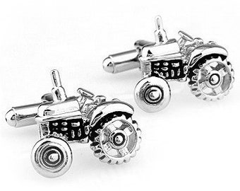 Tractor Silver Tone CuffLinks - Best Gift For Dad - Groomsmen Cufflinks - Groomsmen Gifts - Gifts for Him -  Jewelry For Men