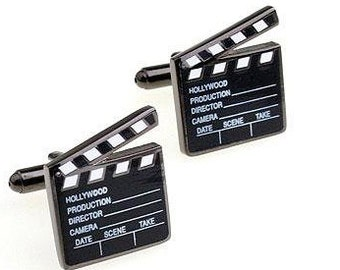 Movie Clapper Board Black Tone CuffLinks - Best Gift For Dad - Groomsmen Cufflinks - Groomsmen Gifts - Gifts for Him -  Jewelry For Men