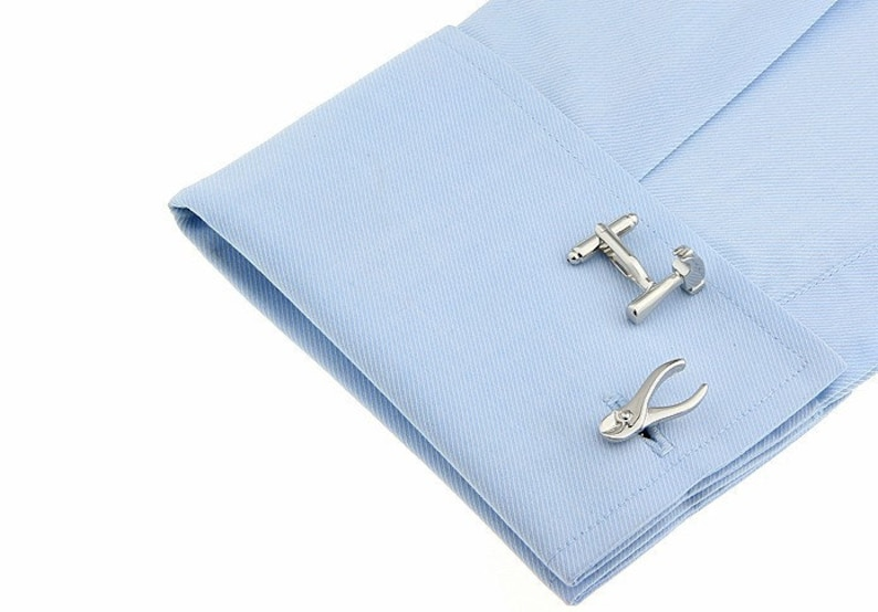 Groomsmen Cufflinks Jewelry For Men Hand Tool sets Silver Tone CuffLinks Gifts for Him Groomsmen Gifts Best Gift For Dad