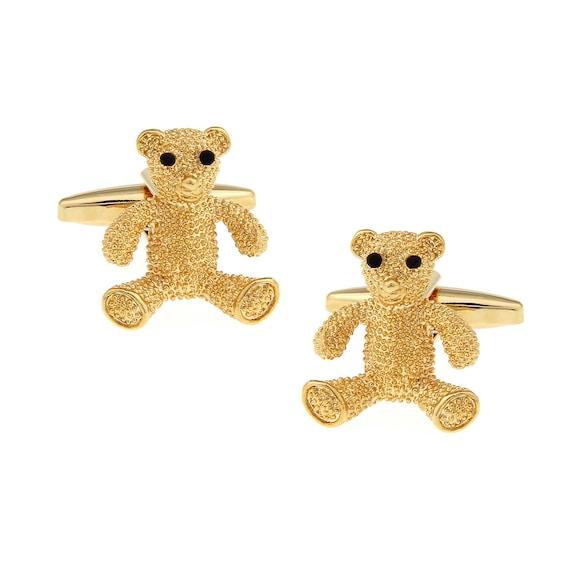 Tiddy Bear Gold Tone CuffLinks Best Gift For Dad Groomsmen   Etsy