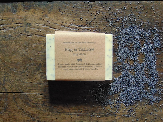Hog Wash - a soap made with local beer, foraged poppy seeds and scented with sweet fennel essential oil.