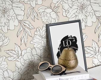 Light Peonies Removable Wallpaper, Peony Pattern Regular Wallpaper, Flower Wall Mural
