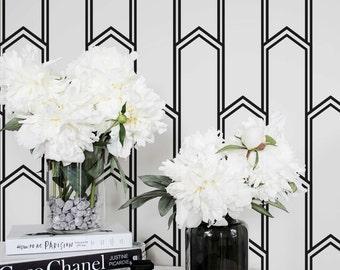 Minimalistic Art Deco Removable Wallpaper / Self Adhesive / Regular Wallpaper / Geometric Wall Mural /