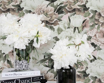 Light Peony Removable Wallpaper / Self Adhesive or Regular Peony pattern Wallpaper / Peony Wall Mural / Floral Wallpaper