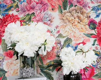 Floral wallpaper etsy more colors colorful floral wallpaper mightylinksfo