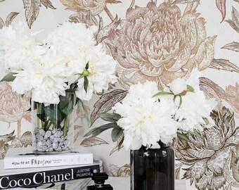 Vintage Peony Self Adhesive Wallpaper Floral Removable / Regular Wallpaper / Flower Wall Mural / Floral Wallpaper