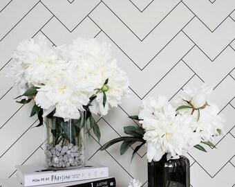 Minimalistic Geometric Pattern Regular Wallpaper / Simple Removable Wallpaper / Geometric Wall Mural / Geometric Wallpaper
