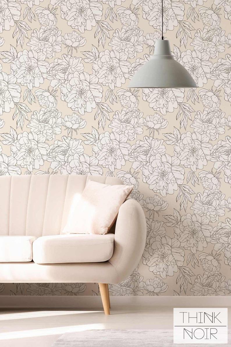 Light Peonies Removable Wallpaper Peony Pattern Regular image 0