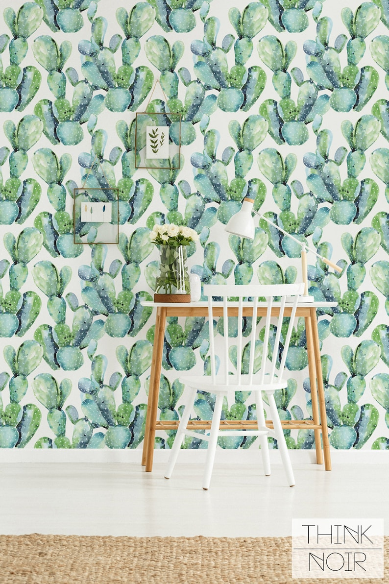 Watercolor cactus wallpaper removable or regular material image 0