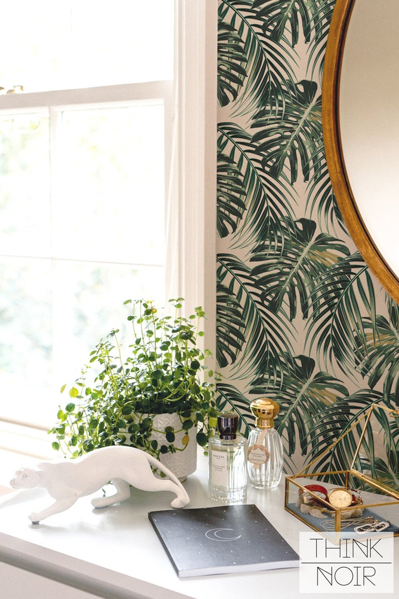 Monstera leaf removable wallpaper self adhesive or regular image 0
