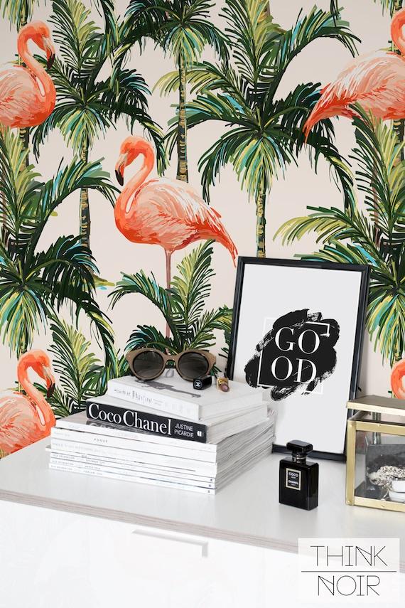Tropical Flamingo Wallpaper Self Adhesive Removable And Regular Wallpaper Flamingo Wall Mural Tropical Print Wallpaper