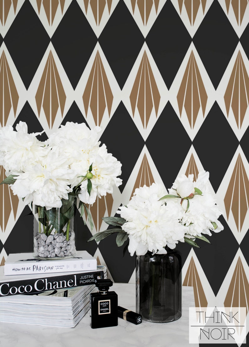 Art Deco Wallpaper Removable Geometric Pattern Wall Mural Etsy